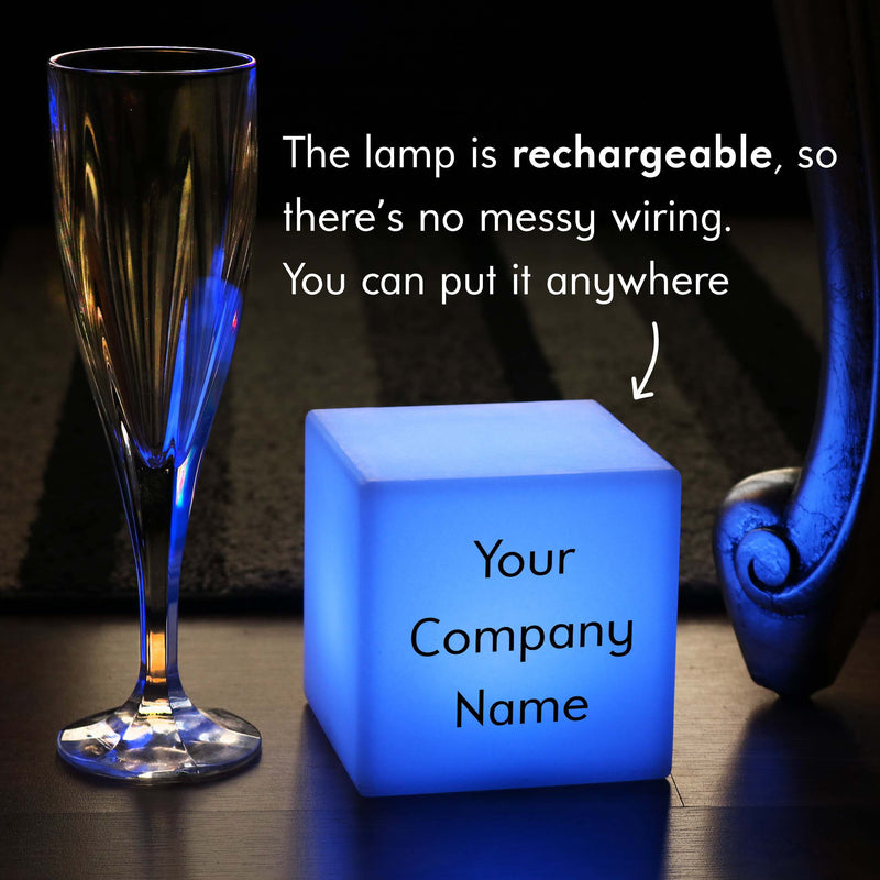 Custom Text Light Box, Decorative Ambient Rechargeable Bedside Table Lamp for Bar, Cube