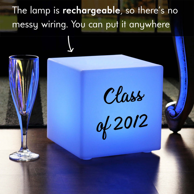 Unique Custom Light Box, LED Dimmable Rechargeable Table Bedside Lamp for Event, Cube 20cm