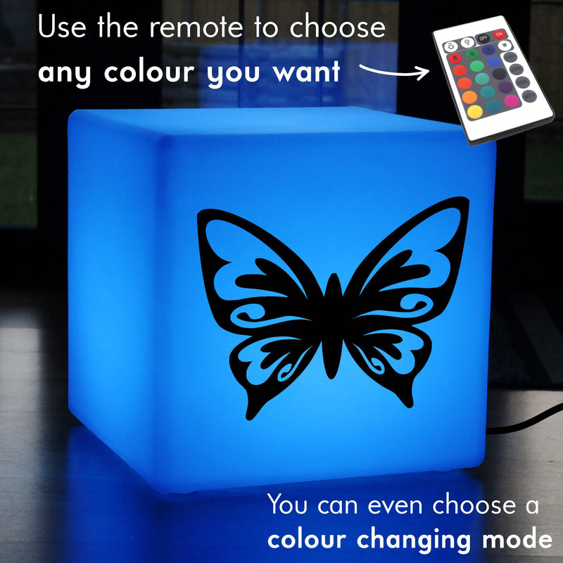 Creative Gift Lamp, LED Multicolour Light Up Stool for Wedding, Cube , Mains Powered, Butterfly Lamp