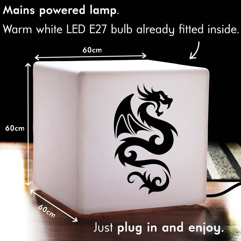 Creative Light Box, Living Room LED Stool Seat for Night Club, Cube , E27, Warm White, Chinese Dragon Light