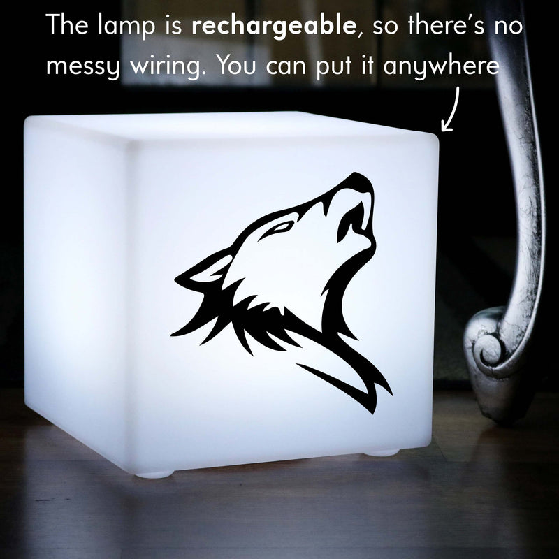 Creative Lightbox, LED Multicolour Wireless Table Lamp Centrepiece for Event, Cube , Wolf Light Gift