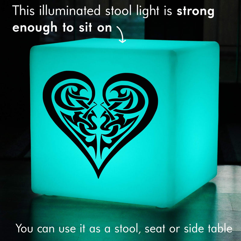 Hand Made Light Gift for Him, Waterproof Multi Colour Cordless Light Up Seat for Anniversary, Cube , Tribal Heart Gift Lamp
