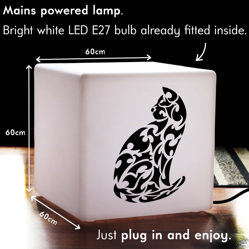 Quirky Lightbox, LED Light Up Seat for Birthday, Cube , E27, White, Cat Gift Light