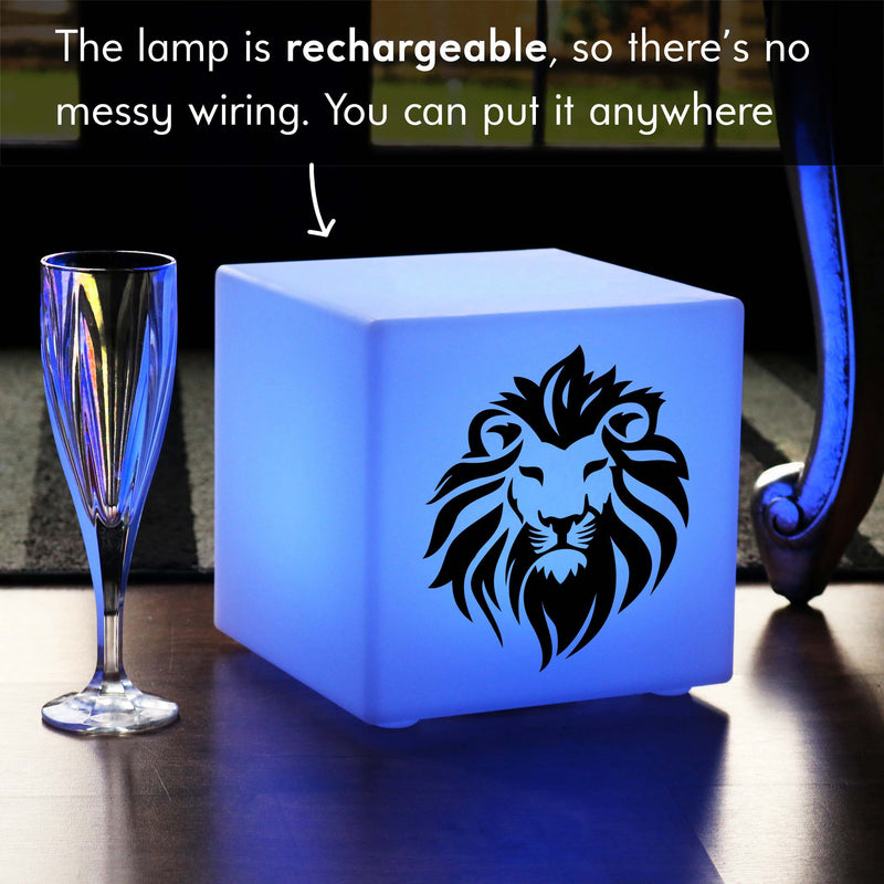 Unique Handmade Gift Light for Her, LED Colour Changing Cordless Table Bedside Lamp for Decoration, Cube , Lion Gift Lamp