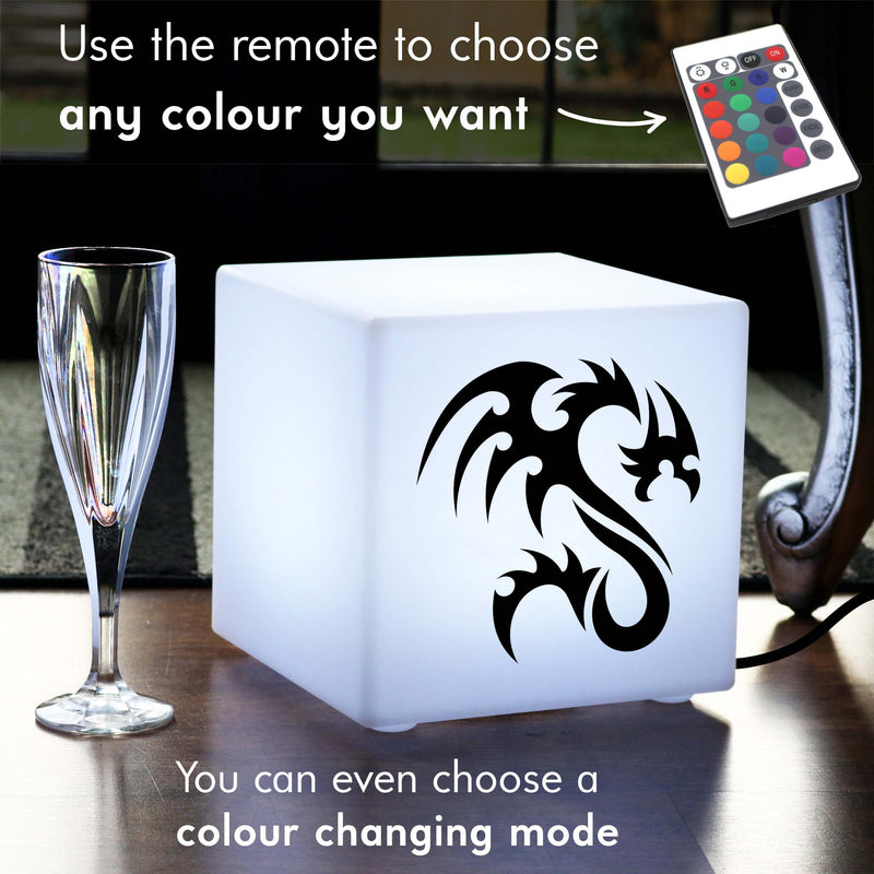 Unique Handcrafted Light, Modern Remote Controlled Table Bedside Lamp for Birthday, Cube , Mains Powered, Dragon Gift Light