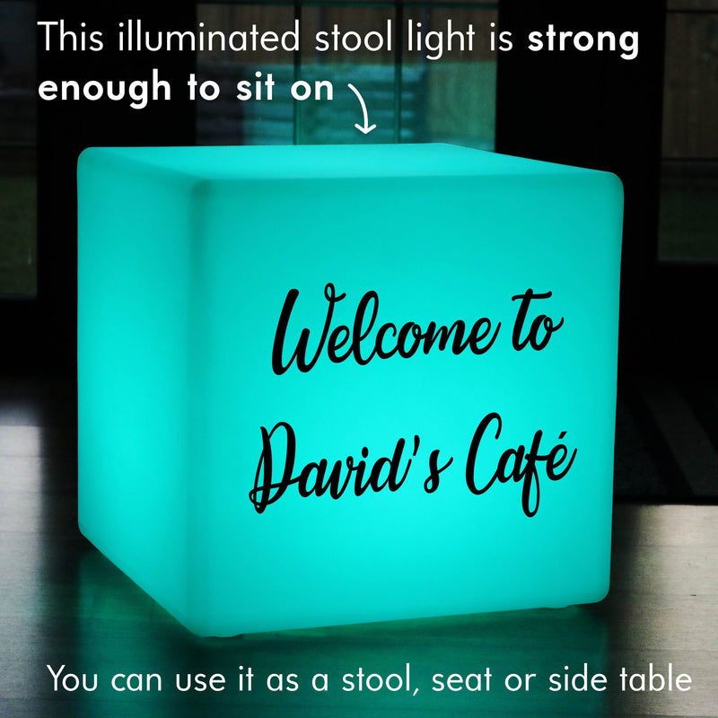 Unique Personalised Gift Light Box, LED RGB Rechargeable Stool Seat for Anniversary, Cube 50cm