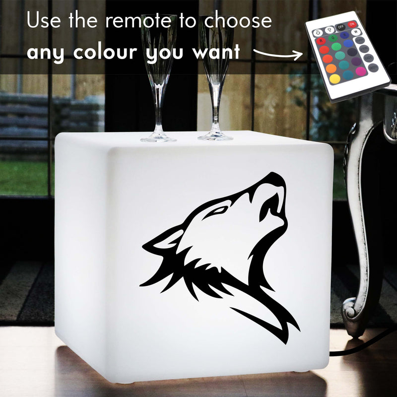 Hand Crafted Light Gift for Him, LED RGB Stool Seat Furniture for Decoration, Cube , Mains Powered, Wolf Light Gift