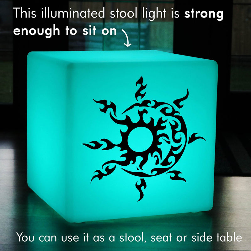 Quirky Gift Light, Bedroom Ambient Cordless Stool Seat Furniture for Hotel, Cube , Sun and Moon Gift Light