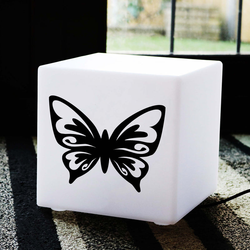 Unique Handmade Gift Light for Her, LED Table Bedside Lamp for Party, Cube , E27, White, Butterfly Light