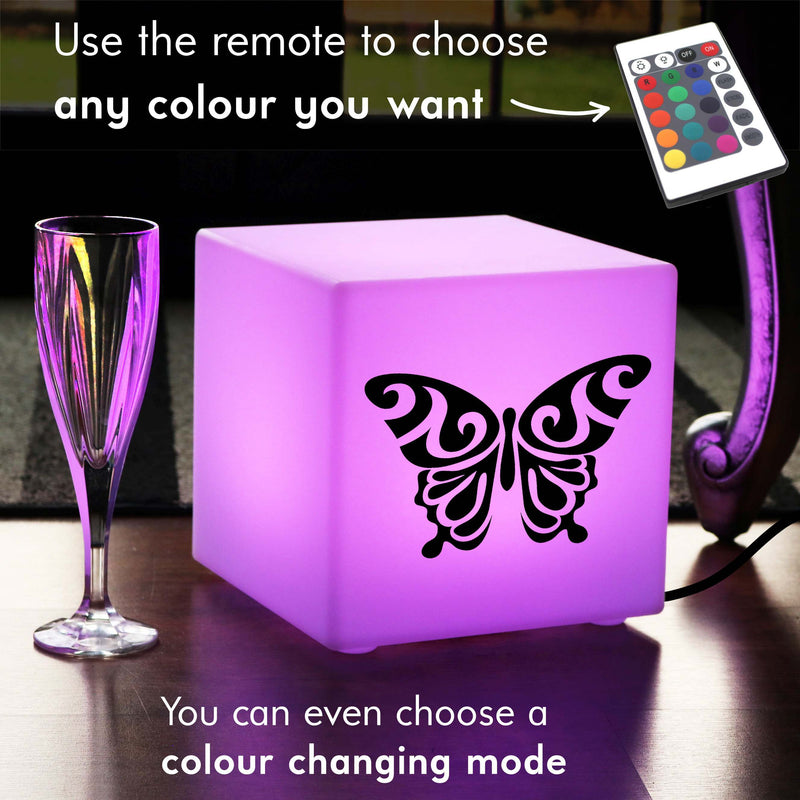 Hand Crafted Light, Bedroom Colour Change Table Lamp for Nightclub, Cube , Mains Powered, Butterfly Lamp Gift