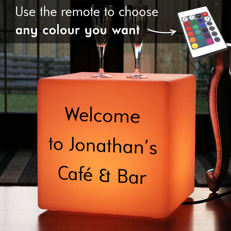 Personalised Sign Lightbox, LED Remote Controlled LED Stool for Bar, Cube 40 x 40 cm, Mains Powered