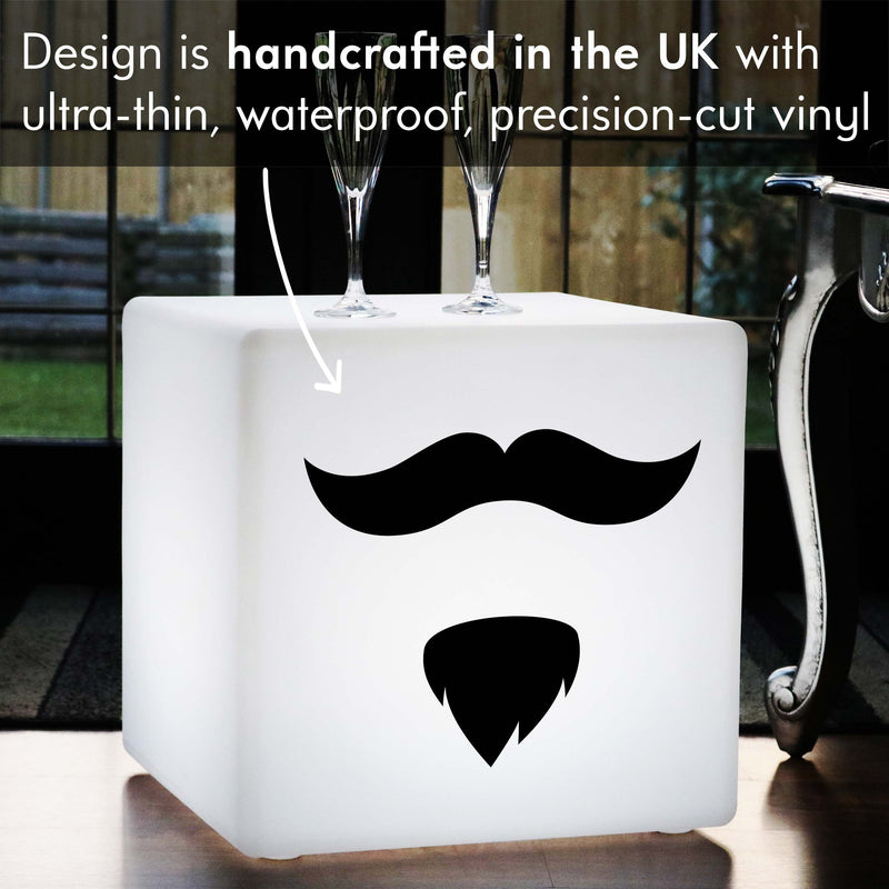 Hand Made Light Gift for Her, Outdoor Dimmable Cordless LED Stool Seat for Hotel, Cube , Moustache and Beard Light Gift