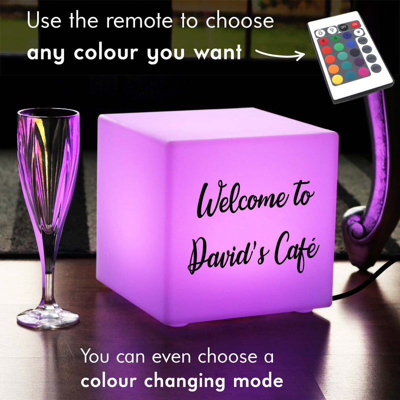 Table Lamp, Thoughtful Personalised Colour Change Living Room Light Box for Party, Cube 20 cm, Mains Powered