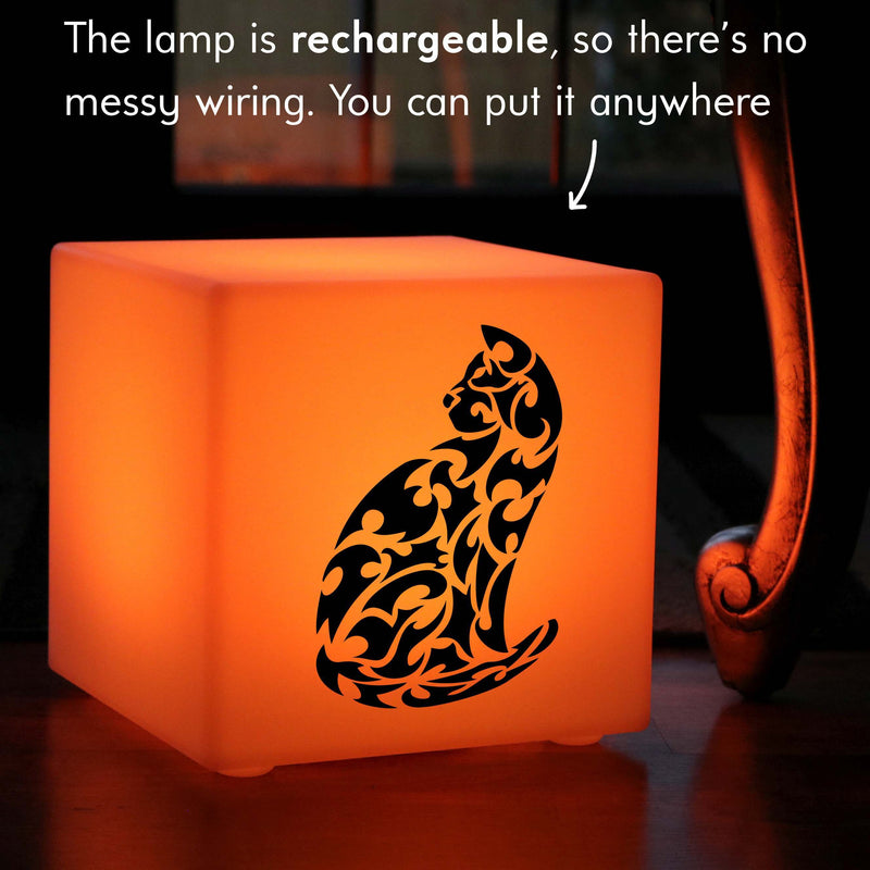 Creative Gift Light for Her, LED Multi-Colour Rechargeable Table Bedside Lamp for Anniversary, Cube , Cat Lamp Gift