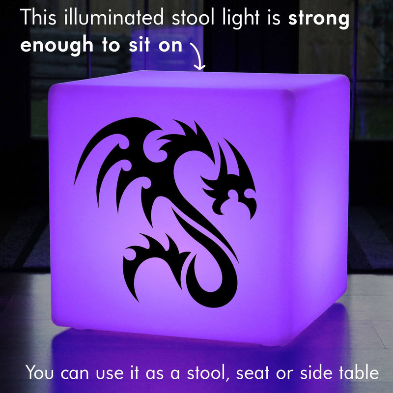 Hand Crafted Gift Light Box, Modern Ambient Wireless Light Up Seat for Decoration, Cube , Dragon Gift Light