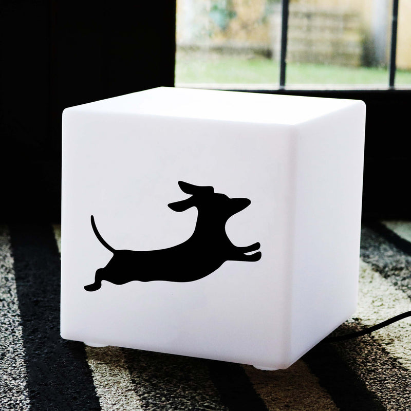 Creative Thoughtful Gift Light, LED Table Lamp for Night Club, Cube , E27, White, Dachshund Dog Light