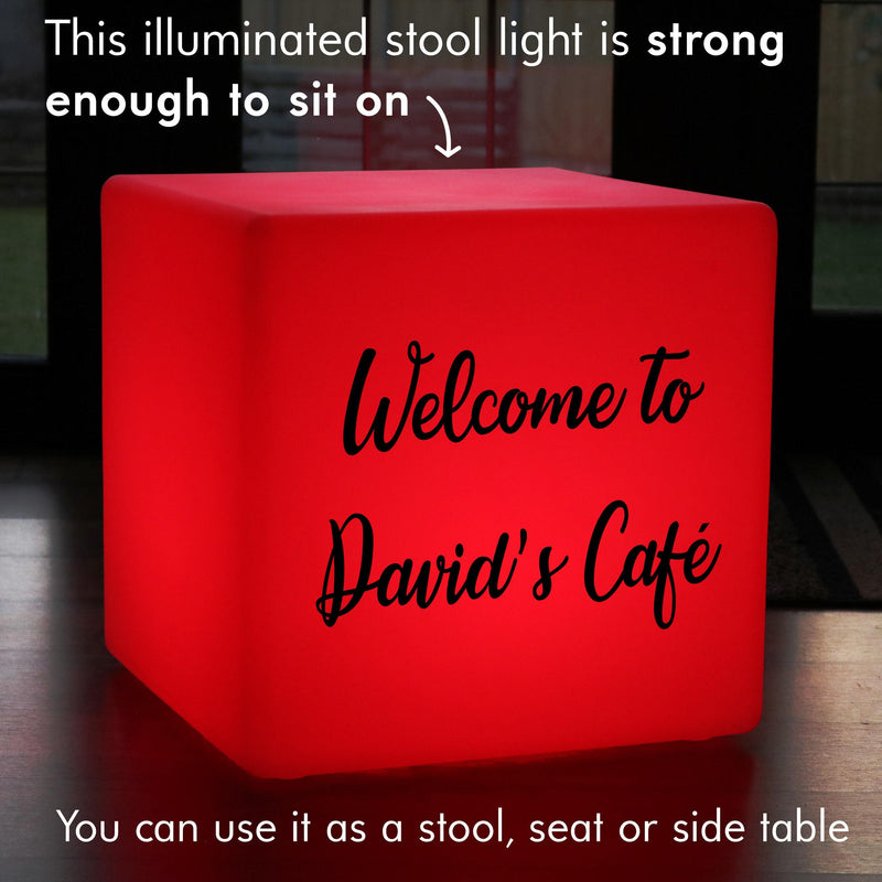Custom Sign Gift Lightbox, Outdoor Remote Controlled Rechargeable Stool Seat Furniture for Bar, Cube 60 x 60 cm