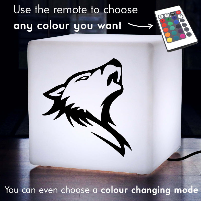Creative Handmade Light Box, Lounge Dimmable Light Up Seat for Wedding, Cube , Mains Powered, Wolf Head Gift Light