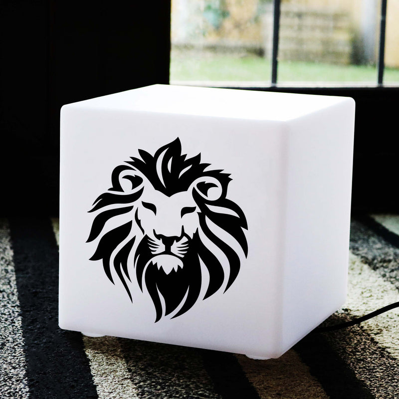 Unique Handmade Lightbox, Contemporary Table Bedside Lamp for Birthday, Cube , E27, Warm White, Lion Gift Light