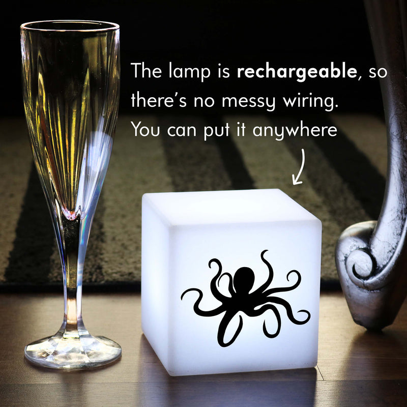 Funky Gift Lamp, Bedroom Dimmable Rechargeable Bedside Table Lamp for Party, Cube , Octopus Lamp Gift