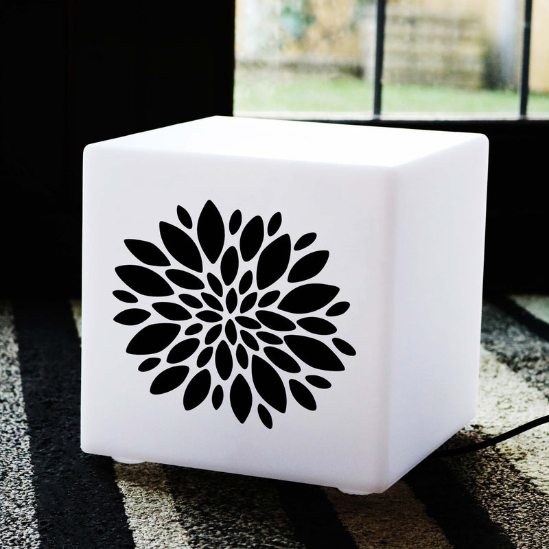 Hand Made Gift Light for Her, LED Table Lamp Centrepiece for Anniversary, Cube , E27, Warm White, Flower Light