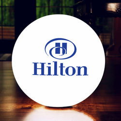 Personalised Multi Colour LED Lamp, Promotional Round Floor Lamp Lightbox with Logo