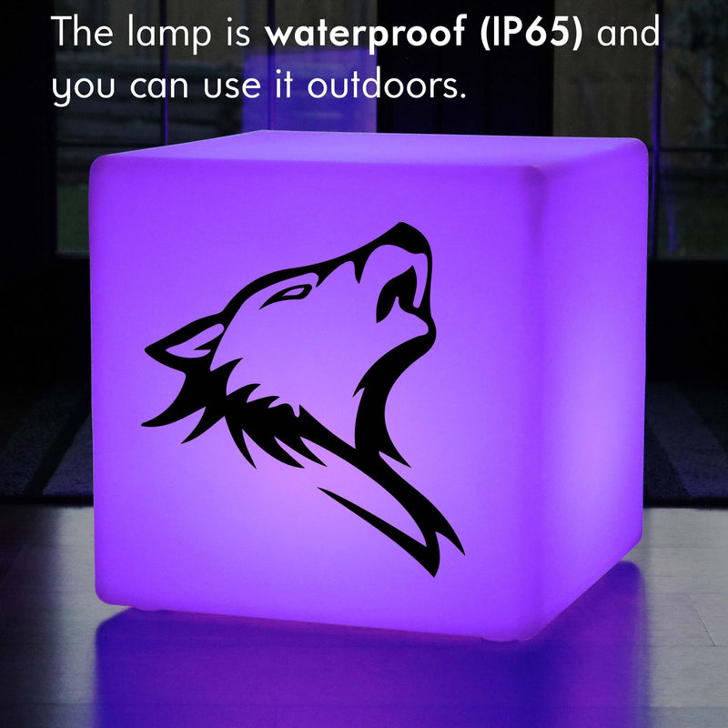 Original Handmade Gift Light for Her, LED Colour Change Wireless Illuminated Seat for Hotel, Cube , Wolf Head Light