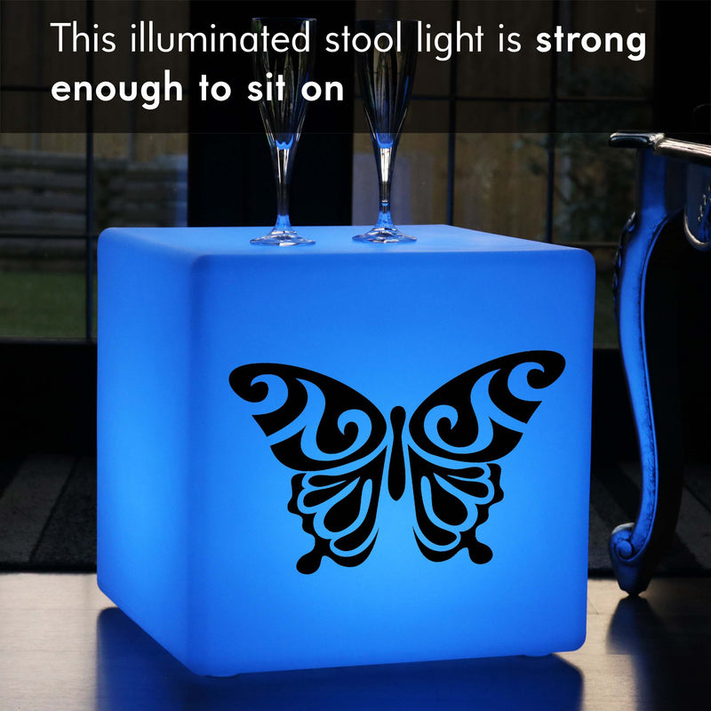 Original Handcrafted Gift Light for Him, Contemporary Multicolour Rechargeable Floor Lamp Stool for Bar, Cube , Butterfly Light