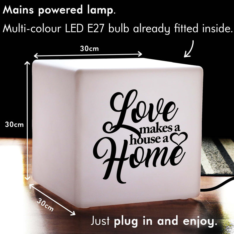 Original Light, Bedroom Dimmable Table Lamp for Birthday, Cube , Mains Powered, Love Makes a House a Home Gift Light