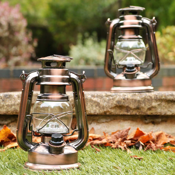 LED Hurricane Lamp, 19cm Dimmable Battery Hanging Storm Lantern Light