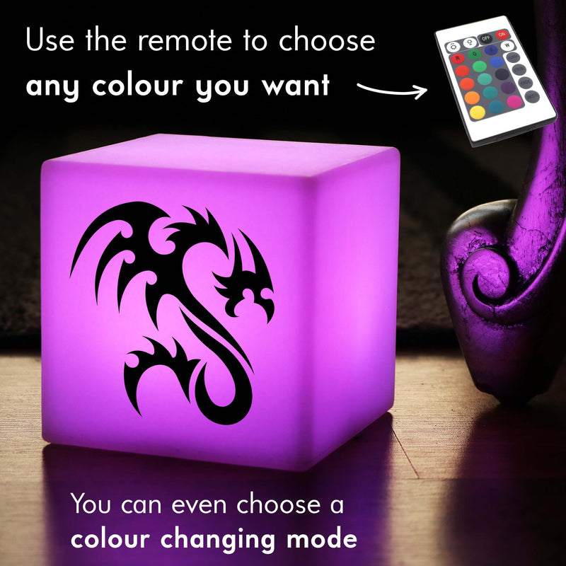 Creative Lightbox, LED Multicolour Wireless Night Light for Restaurant, Cube , Dragon Light