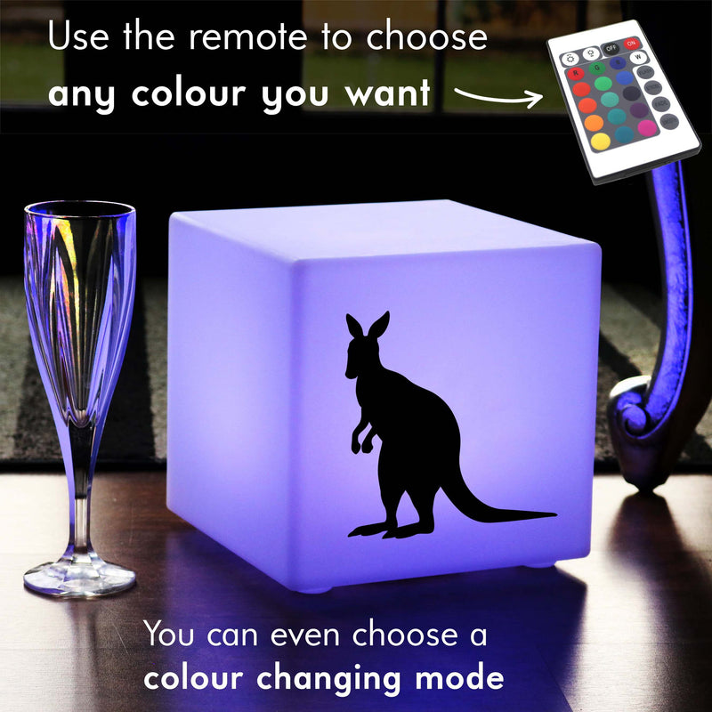 Creative Gift Lamp, Waterproof Colour Changing Cordless Table Bedside Lamp for Night Club, Cube , Kangaroo Light Gift