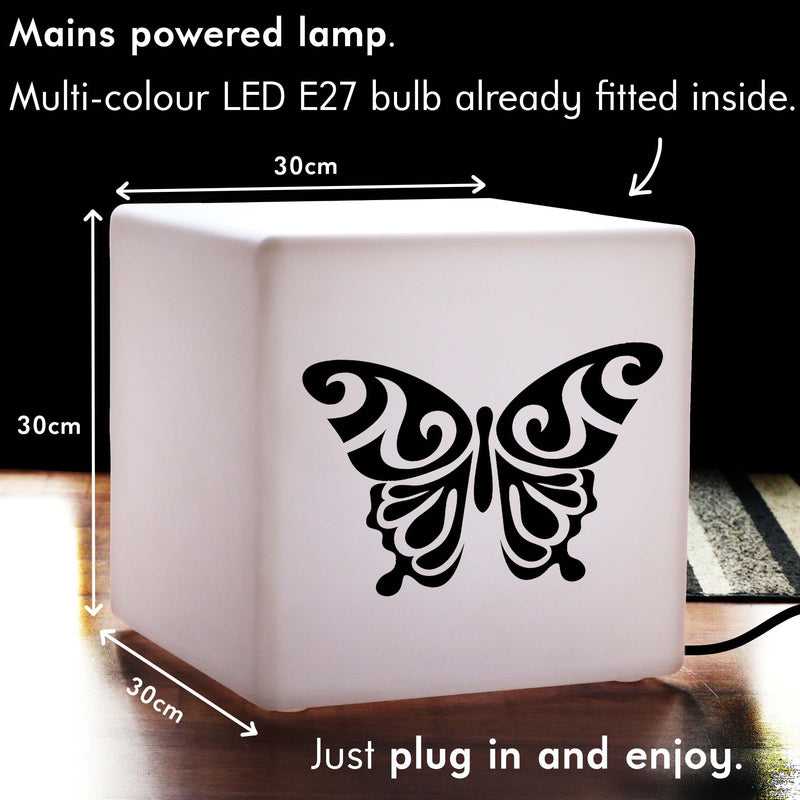Quirky Thoughtful Gift Light, Bedroom Dimmable Table Bedside Lamp for Night Club, Cube , Mains Powered, Butterfly Gift Light