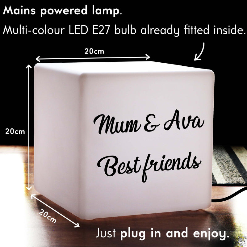 Colour Changing Decorative Table Lamp, Personalised Sign Light Box for Hotel, Cube 20 cm, Mains Powered