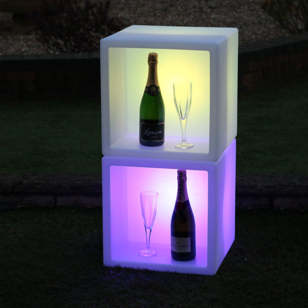 LED Drinks Display Unit, Champagne Wine Stand Shelf, Illuminated Modular Mobile Bar, 40 x 40 cm