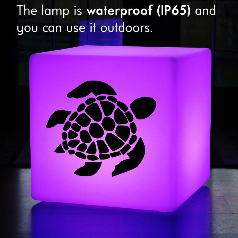 Hand Crafted Light Gift for Him, Outdoor Colour Changing Rechargeable Stool Seat Furniture for Restaurant, Cube , Sea Turtle Light Gift