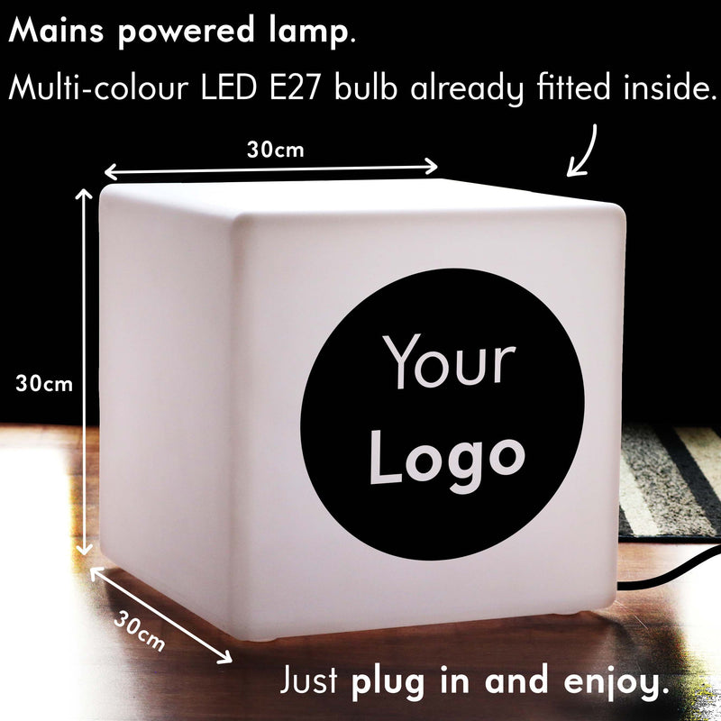 Custom Sign Gift Lightbox, LED Colour Change Table Bedside Lamp for Party, Cube 30 cm, Mains Powered