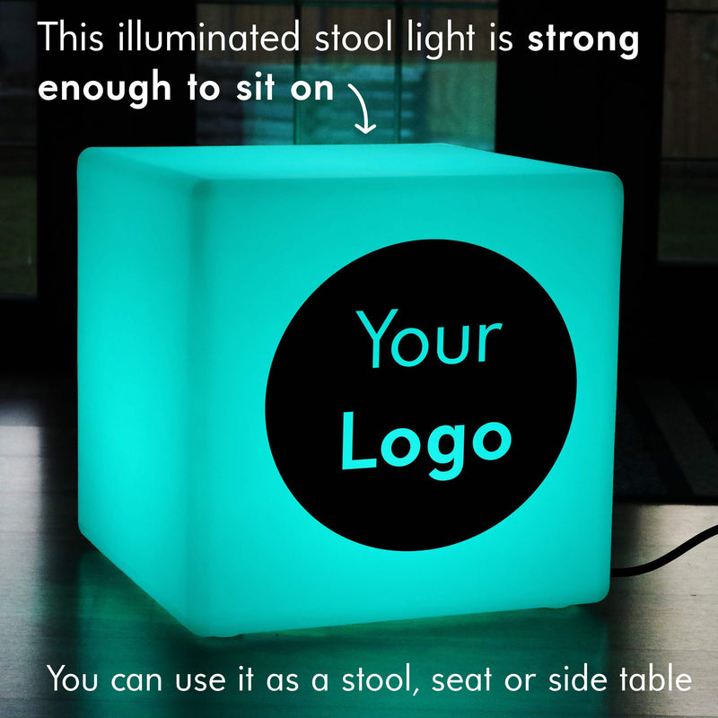 Colour Changing Decorative Floor Lamp Stool, Custom Sign Lightbox for Wedding, Cube 50cm, Mains Powered