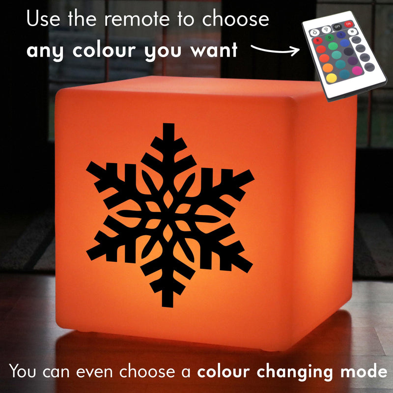 Creative Gift Lamp, LED Dimmable Wireless Light Up Seat for Hotel, Cube , Snowflake Light Gift
