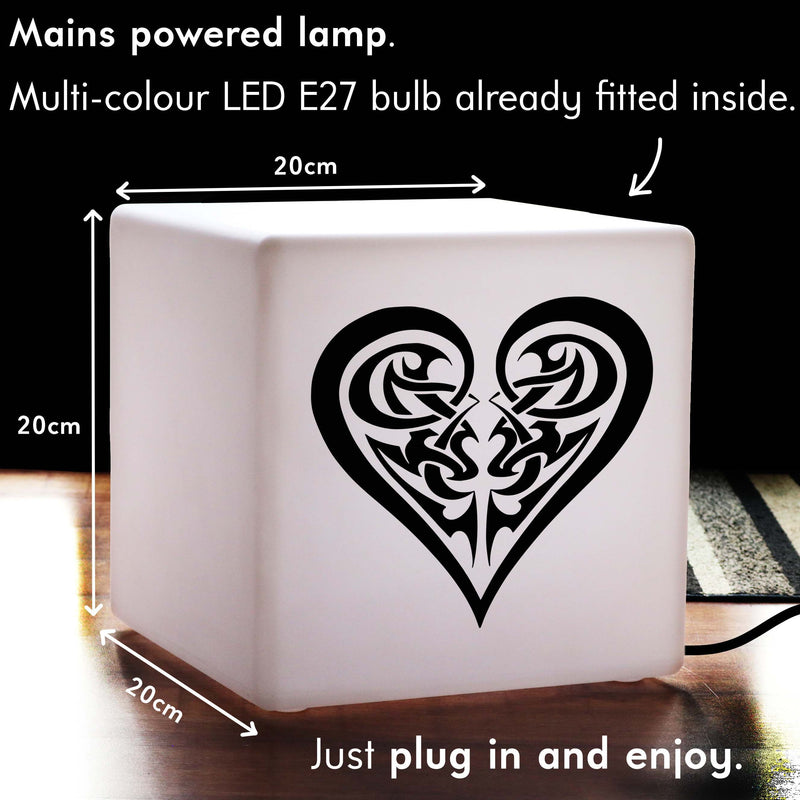 Unique Handcrafted Gift Light, Decorative Colour Changing Table Bedside Lamp for Birthday, Cube , Mains Powered, Tribal Heart Lamp