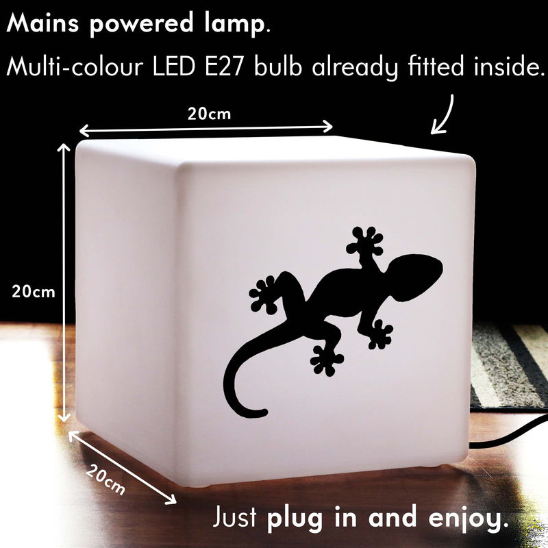 Unique Handmade Gift Lightbox, LED Colour Changing Table Bedside Lamp for Night Club, Cube , Mains Powered, Gecko Light