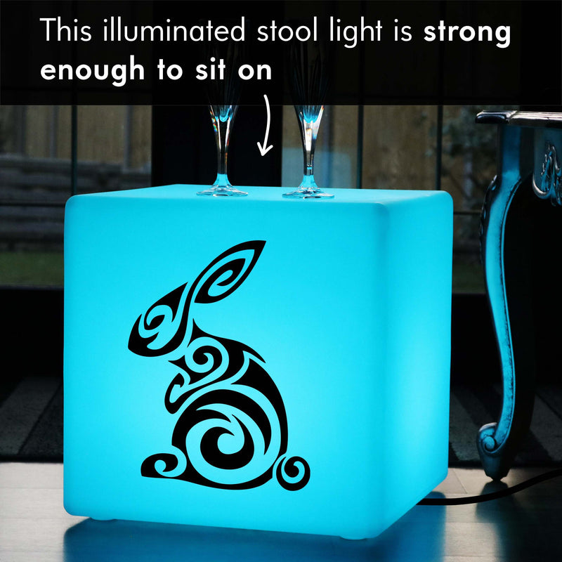 Unique Handmade Thoughtful Gift Light, Lounge Ambient Light Up Seat for Bar, Cube , Mains Powered, Rabbit Lamp Gift