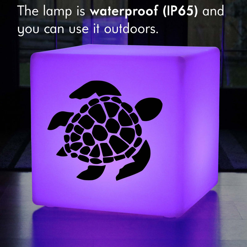 Creative Gift Light for Her, Lounge Ambient Rechargeable LED Stool Seat for Hotel, Cube , Sea Turtle Gift Lamp