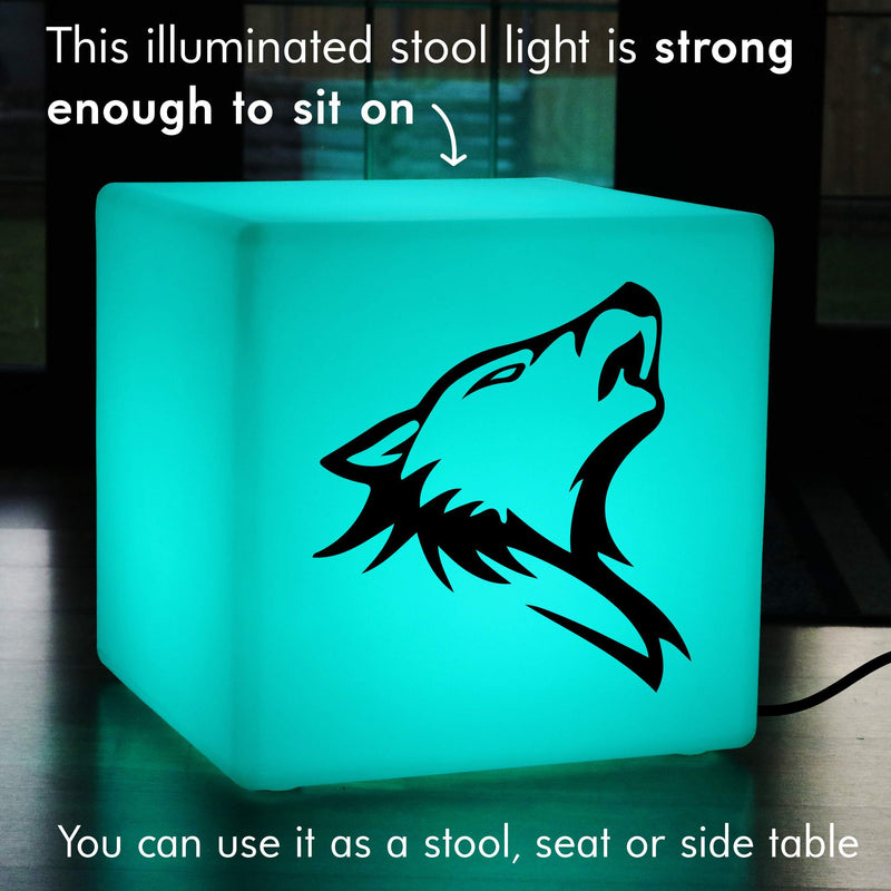 Original Handcrafted Gift Lamp, Modern Colour Changing Illuminated Seat for Bar, Cube , Mains Powered, Wolf Gift Light