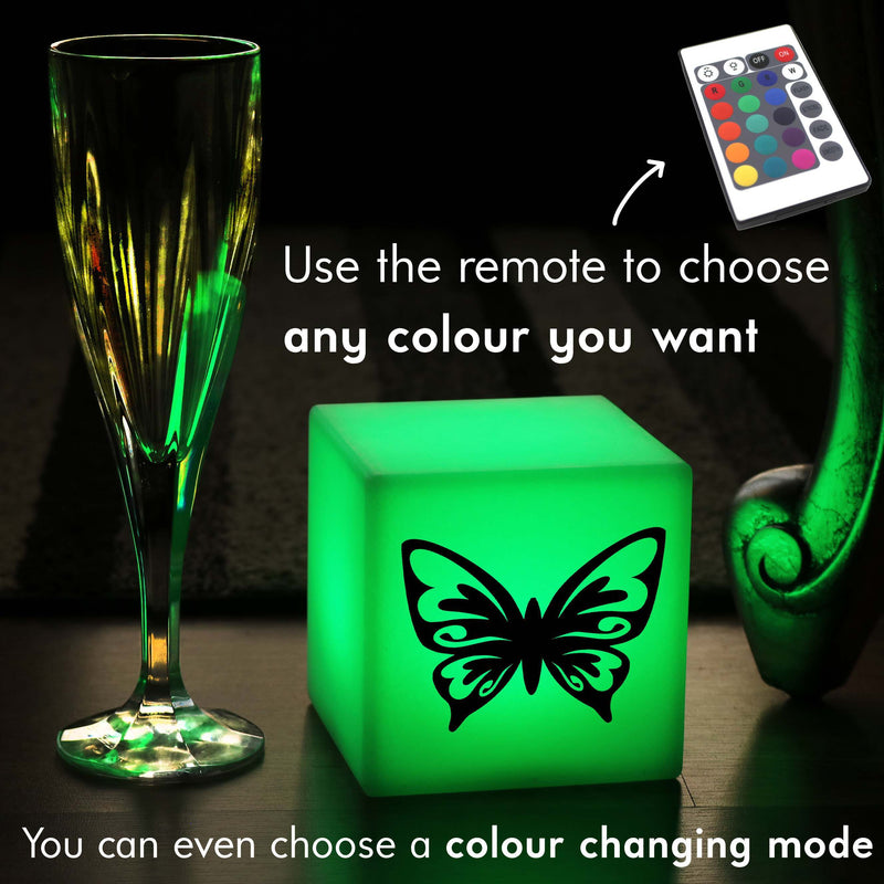 Quirky Gift Light, LED Colour Changing Battery Powered Table Lamp Centrepiece for Night Club, Cube , Butterfly Gift Light