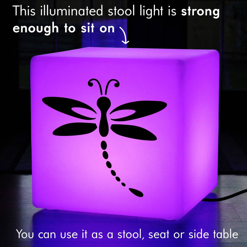 Creative Handmade Light Gift for Her, Contemporary Multi Colour Stool Seat Side Table for Anniversary, Cube , Mains Powered, Dragonfly Light Gift