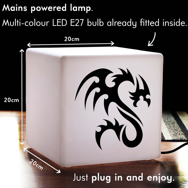 Unique Gift Lamp, Modern Dimmable Table Bedside Lamp for Party, Cube , Mains Powered, Tribal Dragon Light