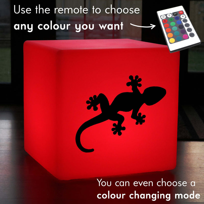 Original Handcrafted Gift Light, Living Room Multi-Colour Rechargeable Stool Seat Furniture for Bar, Cube , Gecko Light Gift