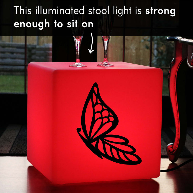 Unique Gift Light for Her, Lounge RGB LED Seat for Event, Cube , Mains Powered, Butterfly Light Gift