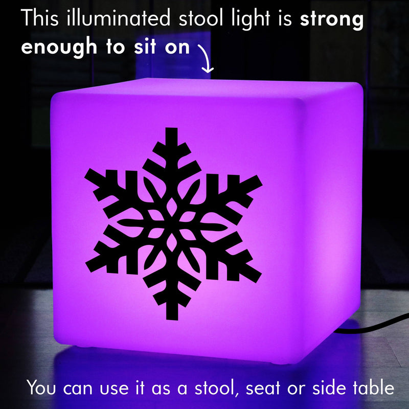 Creative Gift Light for Her, Living Room Multi Colour Light Up Stool for Restaurant, Cube , Mains Powered, Snowflake Xmas Light Gift